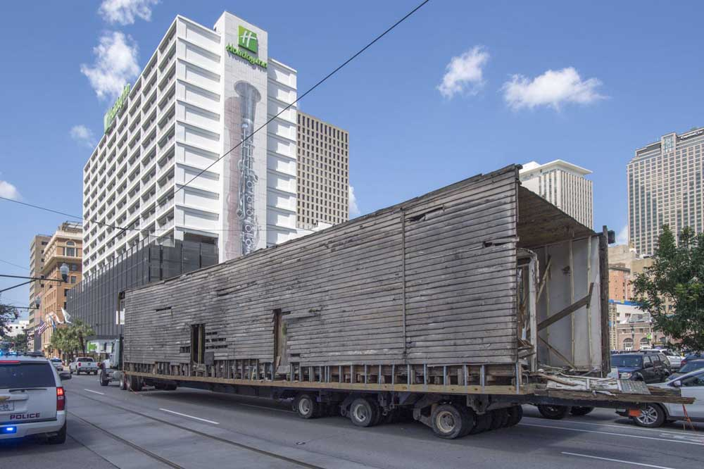 Davie Shoring crews move an 1895 shotgun house from Martin Luther King Blvd. to its new location at 2200 Almonaster Ave. in New Orleans on Wednesday, July 24, 2019.