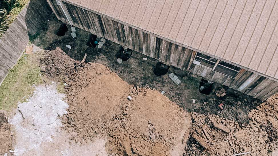drone view of foundation repair
