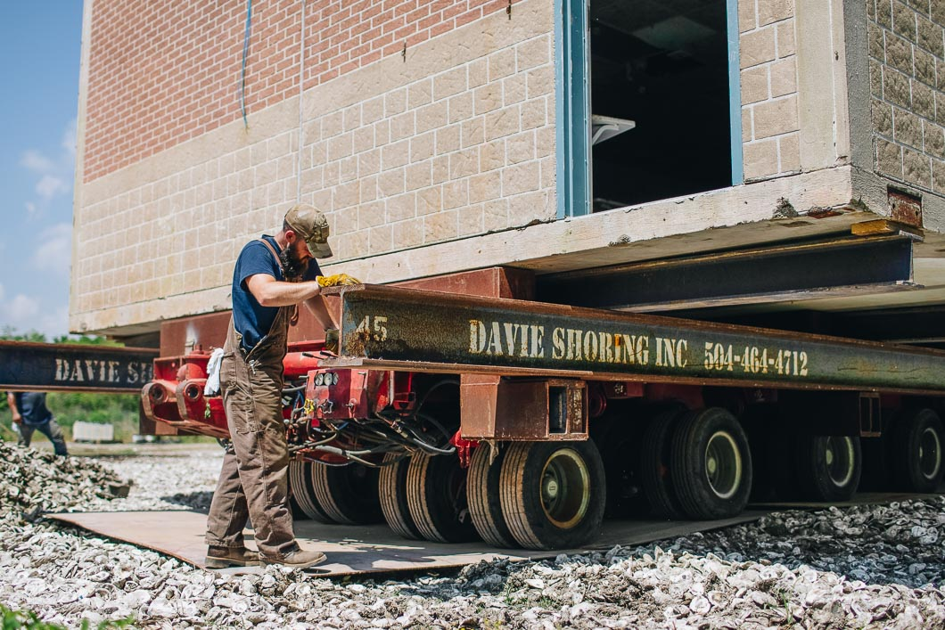 Davie Shoring Crew on New Orleans Mission Relocation Building on Truck